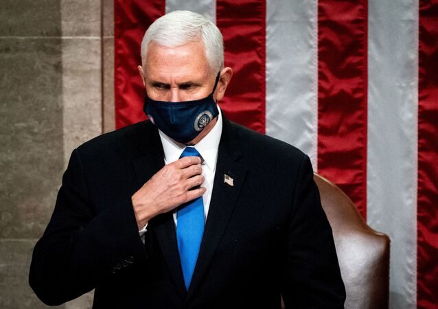 Vice President Mike Pence presides over a Joint session of Congress to certify the 2020 Electoral College results after supporters of President Donald Trump stormed the Capitol earlier in the day, on Capitol Hill in Washington, U.S. January 6, 2021.