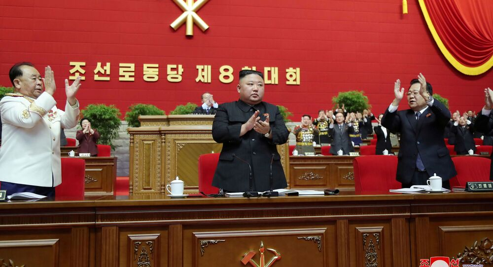 North Korean leader Kim Jong Un applauds at the 8th Congress of the Workers' Party in Pyongyang, North Korea, in this photo supplied by North Korea's Central News Agency (KCNA) on January 11, 2021.