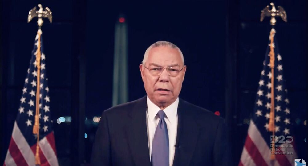 This video grab made on August 18, 2020 from the online broadcast of the Democratic National Convention, being held virtually amid the novel coronavirus pandemic, shows Former Secretary of State Colin Powell speaking during the second day of the convention.