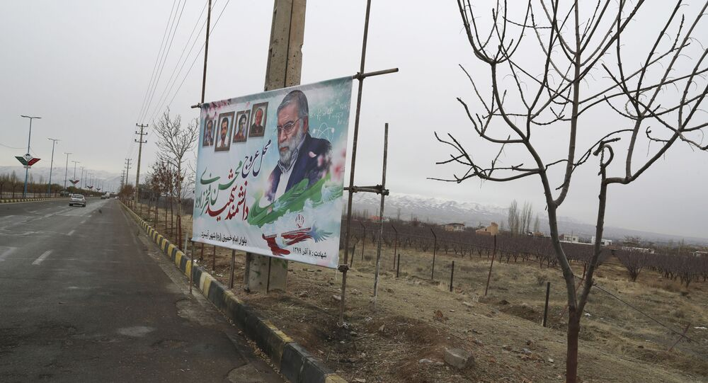 A billboard carries a portrait of Mohsen Fakhrizadeh, an Iranian scientist linked to the country's nuclear program who was killed by unknown assailants last month, at the site of his killing in Absard east of the capital, Tehran, Iran, Wednesday, Dec. 16, 2020