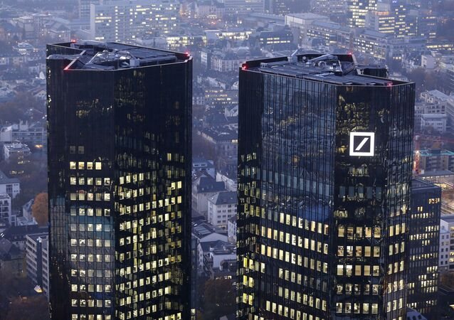 FILE - In this Nov. 13, 2012 file photo, the headquarters of Deutsche Bank is photographed in Frankfurt, Germany