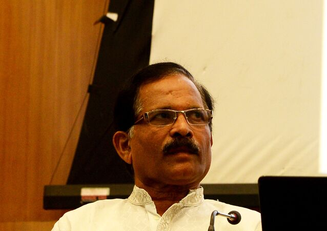 India's junior minister for the department of Ayurveda, Yoga, Naturopathy, Unani, Siddha and Homeopathy (AYUSH) Shripad Yesso Naik looks on during a press conference ahead of International Yoga Day in New Delhi on June 9, 2015