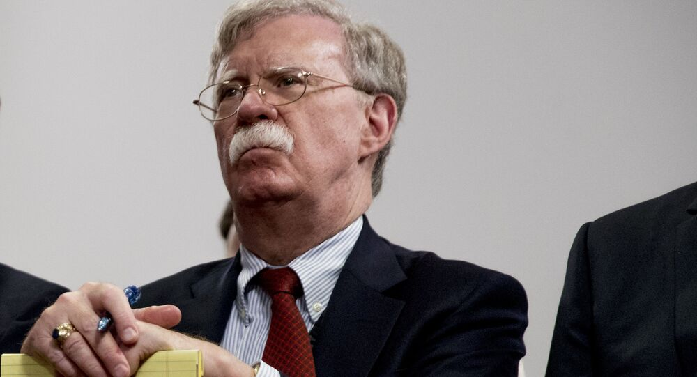 National Security Adviser John Bolton attends a meeting with President Donald Trump as he meets with Indian Prime Minister Narendra Modi at the G-7 summit in Biarritz, France, Monday, Aug. 26, 2019