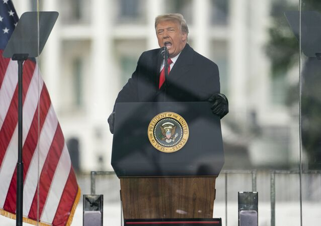 President Donald Trump speaks during a rally protesting the electoral college certification of Joe Biden as President, Wednesday, Jan. 6, 2021, in Washington