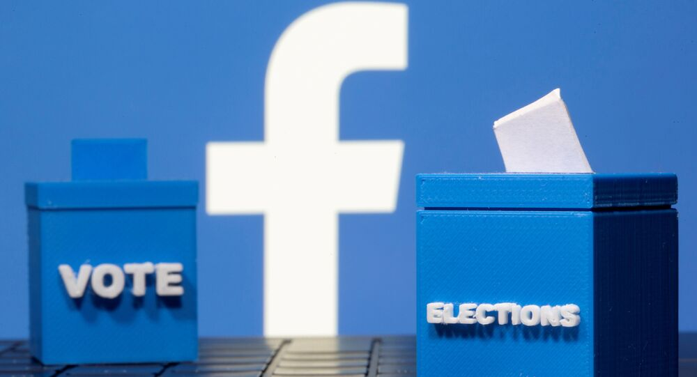 3D printed ballot boxes are seen in front of a displayed Facebook logo in this illustration taken November 4, 2020. REUTERS/Dado Ruvic/Illustration/File Photo