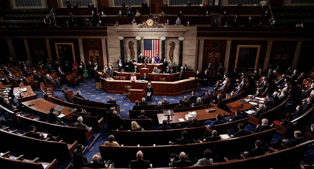The Republican side, right, in the House chamber is seen as Speaker of the House Nancy Pelosi, D-Calif., and Vice President Mike Pence officiate as a joint session of the House and Senate