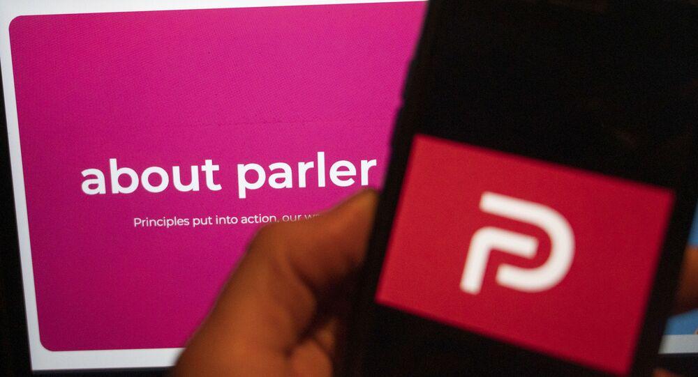The logo of the social media platform Parler is displayed in Berlin, Jan. 10, 2021