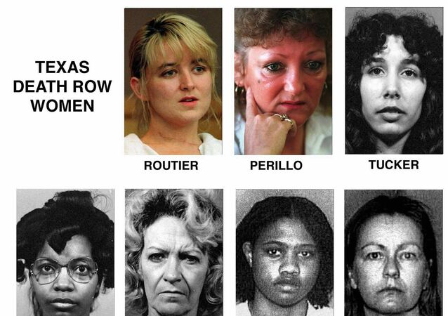 This photo shows seven women that were on death row at the Mountain View Unit of the Texas Department of Criminal Justice, in Gatesville, Texas.  The list includes names and when they arrived at the facilities after their sentencing: Darlie Routier, arrived at the unit on 5 February 1997 and is still awaiting execution; Pamela Lynn Perillo, arrived on 4 September 1980 but was resentenced to life in prison plus 30 years on 12 July 2000; Karla Faye Tucker, arrived on 18 December 1984 and was executed on 3 February 1998; Betty Lou Beets, arrived on 14 October 1985, was executed on 24 February 2000; Frances Elaine Newton, arrived on 17 November 1988 and was executed on 14 September 2005; Erica Yvonne Sheppard, arrived on 26 April 1995 and is still awaiting execution; Cathy Lynn Henderson, arrived on 1 June 1995, died on 2 August 2015 in a hospital.