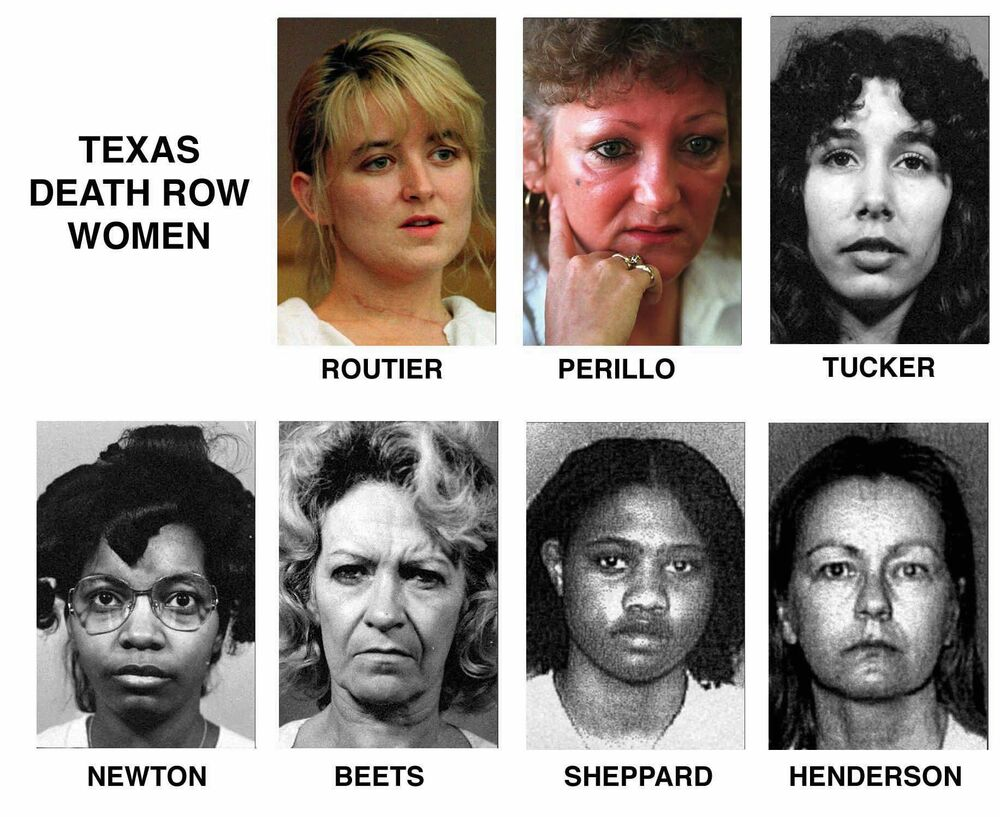This photo shows seven women that were on death row at the Mountain View Unit of the Texas Department of Criminal Justice, in Gatesville, Texas.  The list includes names and when they arrived at the facilities following their sentencing: Darlie Routier, arrived at the unit on 5 February 1997 and is still awaiting execution; Pamela Lynn Perillo, arrived on 4 September 1980 but was resentenced to life in prison plus 30 years on 12 July 2000; Karla Faye Tucker, arrived on 18 December 1984 and was executed on 3 February 1998; Betty Lou Beets, arrived on 14 October 1985, was executed on 24 February 2000; Frances Elaine Newton, arrived on 17 November 1988 and was executed on 14 September 2005; Erica Yvonne Sheppard, arrived on 26 April 1995 and is still awaiting execution; Cathy Lynn Henderson, arrived on 1 June 1995, died on 2 August 2015 in a hospital.