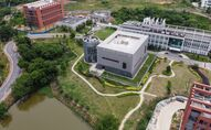 This aerial view shows the P4 laboratory (C) on the campus of the Wuhan Institute of Virology in Wuhan in China's central Hubei province on May 13, 2020.