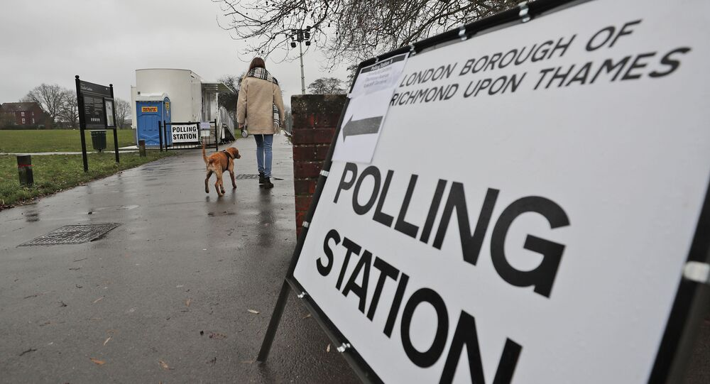 A voter with her dog arrives at a polling station in Twickenham, England (File)