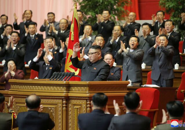 North Korean leader Kim Jong Un receives applause during the 8th Congress of the Workers' Party in Pyongyang, North Korea, in this photo supplied by North Korea's Central News Agency (KCNA) on January 13, 2021