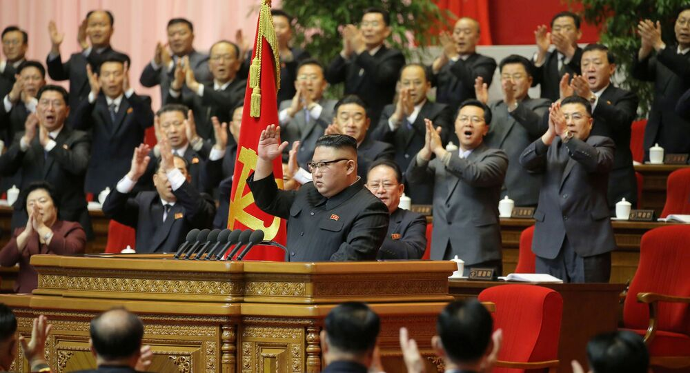 North Korean leader Kim Jong Un receives applause during the 8th Congress of the Workers' Party in Pyongyang, North Korea, in this photo supplied by North Korea's Central News Agency (KCNA) on 13 January 2021