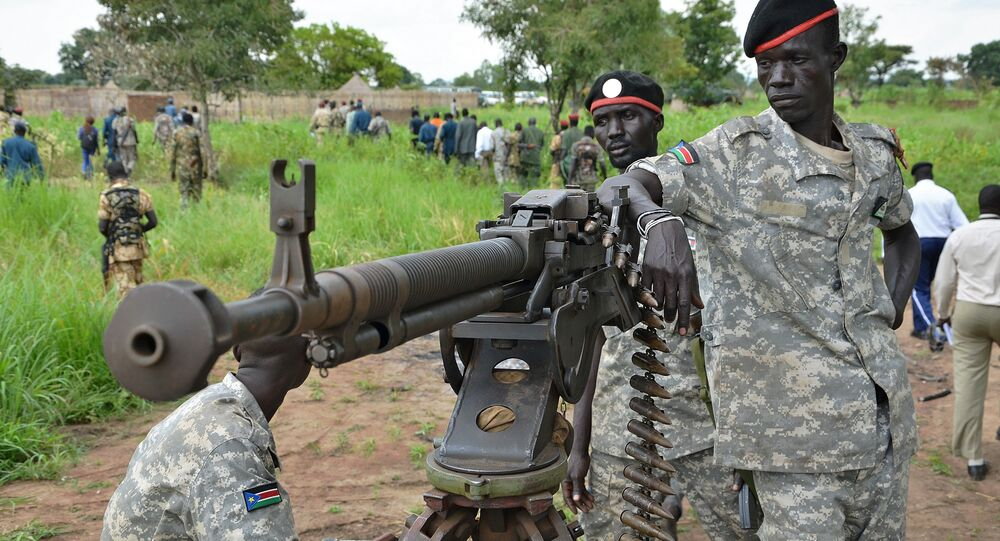 South Sudanese SPLA soldiers are pictured in Pageri in Eastern Equatoria state (File)