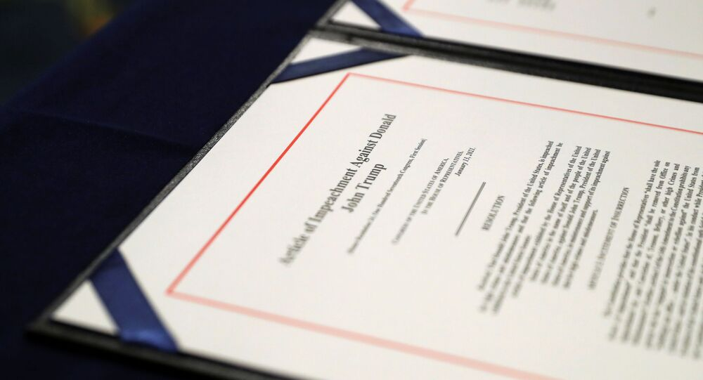 A close-up view of the article of impeachment against U.S. President Donald Trump, which U.S. House Speaker Nancy Pelosi (D-CA) will sign in an engrossment ceremony, at the U.S. Capitol in Washington January 13, 2021