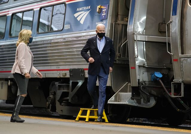 Democratic presidential candidate former Vice President Joe Biden and Jill Biden, arrive to speak at Amtrak's Pittsburgh Train Station, Wednesday, Sept. 30, 2020, in Pittsburgh