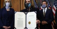 House Speaker Nancy Pelosi presents the signed article of impeachment against President Donald Trump in an engrossment ceremony before transmission to the Senate for trial on Capitol Hill, in Washington, Wednesday, 13 January 2021.