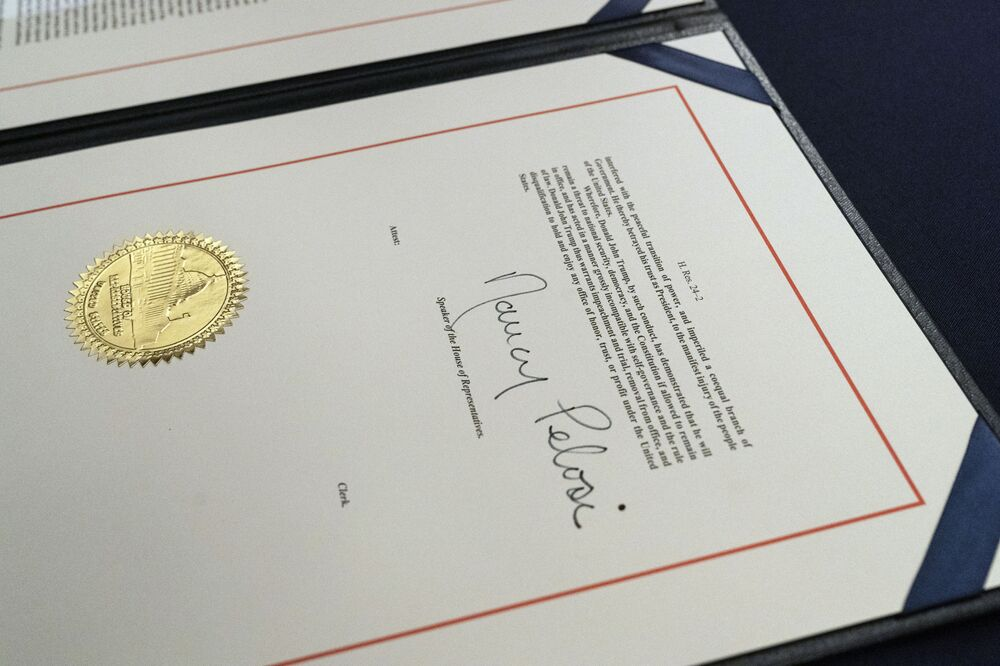 The signature of House Speaker Nancy Pelosi on the article of impeachment against President Donald Trump, after an engrossment ceremony before transmission to the Senate for trial on Capitol Hill, in Washington, DC, 13 January 2021.