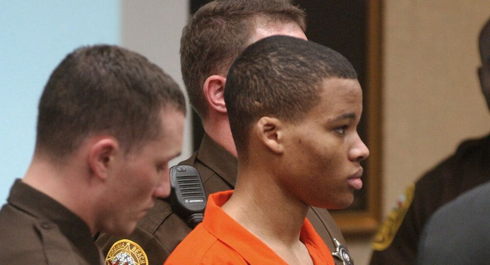 Lee Boyd Malvo in court in Virginia in 2003. Because he was 17 at the time of the shootings he has to be offered parole.