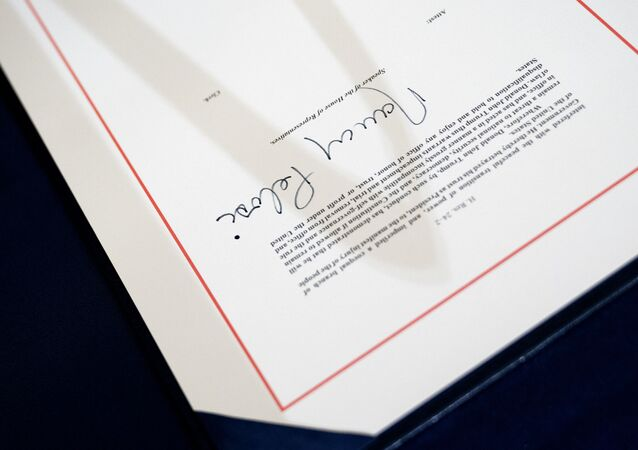 The signed article of impeachment against President Donald Trump sits on a table at the U.S. Capitol on 13 January 2021 in Washington, DC. The House of Representatives voted to impeach Trump a second time, after Vice President Mike Pence declined to use the 25th amendment to remove him from office after protestors breached the U.S. Capitol last week.