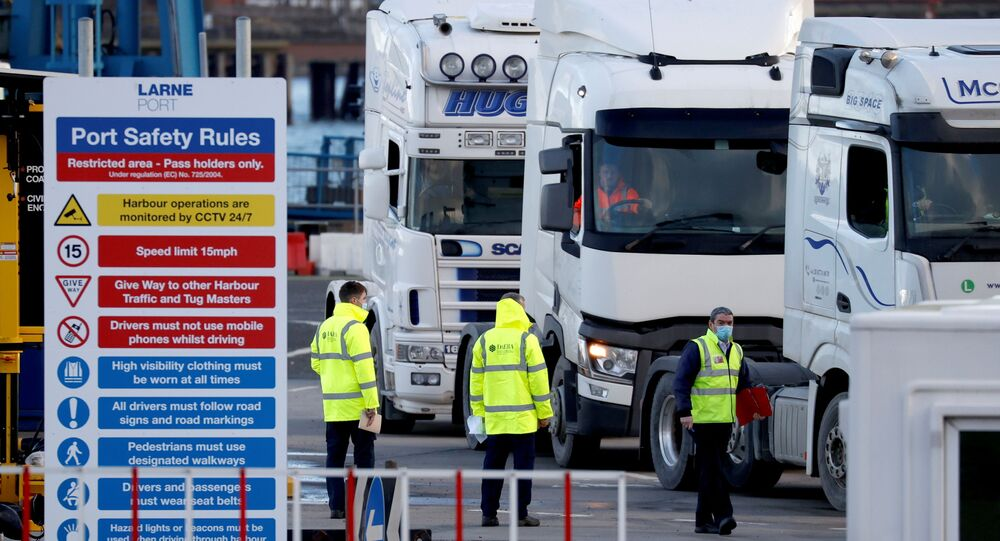 People inspect lorries which arrived at the Port of Larne, Northern Ireland Britain January 1, 2021