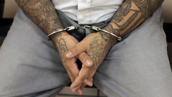 A handcuffed Mara Salvatrucha gang member waits for the start of a court trial at the Isidro Menendez Judicial Center in San Salvador, El Salvador, Thursday, Oct. 10, 2019. El Salvador on Tuesday began a mass trial of over 400 alleged gang members, including purported leaders of the feared transnational crime group Mara Salvatrucha, or MS-13.  - Sputnik International