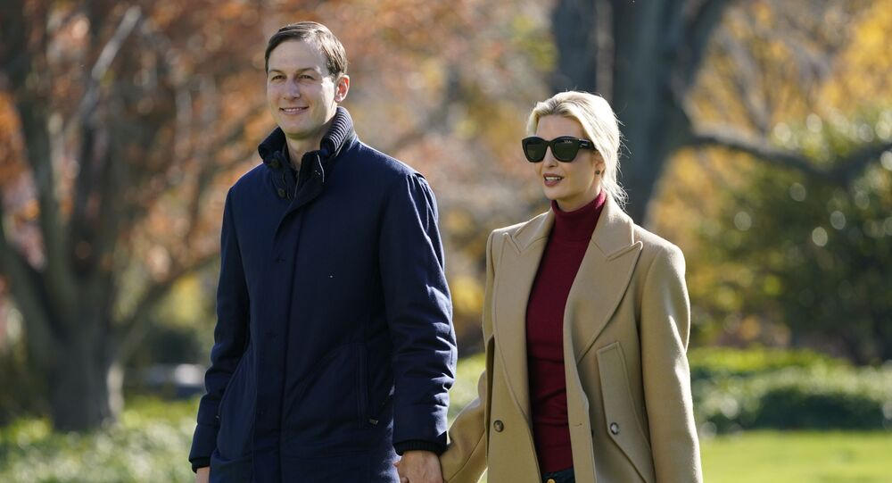President Donald Trump's White House Senior Adviser Jared Kushner and Ivanka Trump, the daughter of President Trump, walk on the South Lawn of the White House in Washington, Sunday, Nov. 29, 2020, after stepping off Marine One after returning from Camp David