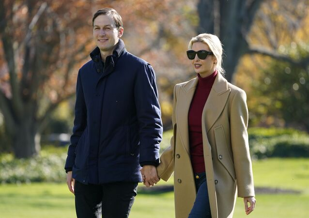 President Donald Trump's White House Senior Advisor Jared Kushner and Ivanka Trump, the daughter of President Trump, walk on the South Lawn of the White House in Washington, Sunday, 29 November 2020, after stepping off Marine One after returning from Camp David