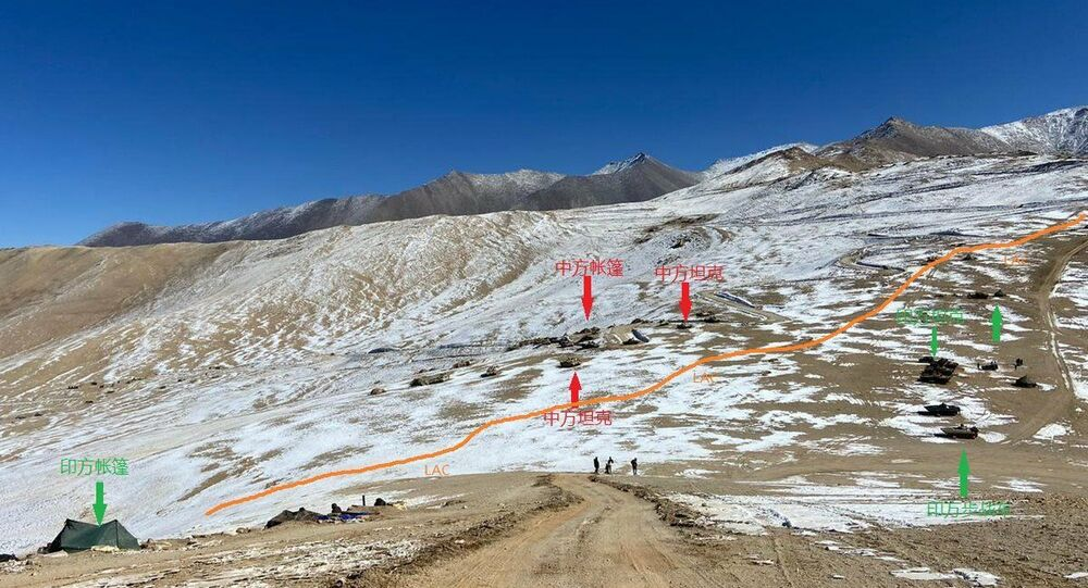 India-China tanks and BMP facing each other in Rezang La