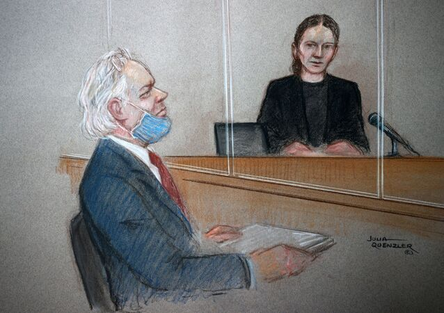 WikiLeaks founder Julian Assange is seen during a hearing at the Westminster Magistrates Court in London, Britain, 6 January 2021, in this courtroom sketch