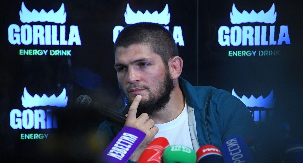 Russian UFC Champion Khabib Nurmagomedov at a press conference