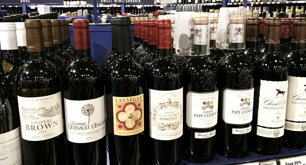 French wines are displayed for sale at a supermarket in Los Angeles, California on 18 August 2019