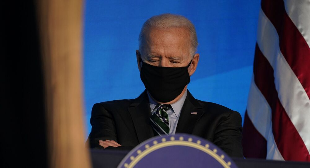 President-elect Joe Biden listens during an event at The Queen theater, Saturday, Jan. 16, 2021, in Wilmington, Del