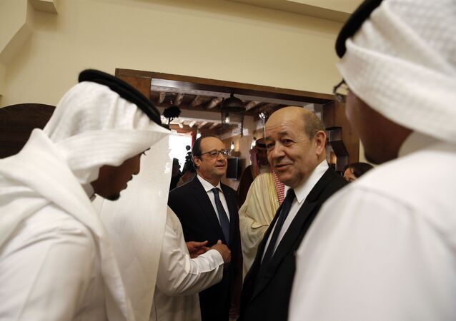 Jean-Yves le Drian, right, visits the Diriyah Historical City, near Riyadh,  Saudi Arabia. File photo.