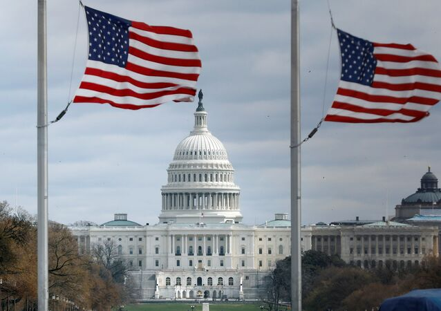 American flags fly on National Mall with U.S. Capitol on background as high-wind weather conditions continue in Washington