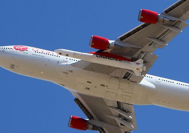 Virgin Orbit Boeing 747-400 rocket launch platform, named Cosmic Girl, takes off from Mojave Air and Space Port, Mojave (MHV) on its second orbital launch demonstration in the Mojave Desert, north of Los Angeles.