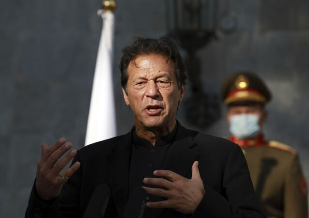 Pakistan Prime Minister Imran Khan speaks during a joint news conference with Afghan President Ashraf Ghani at the Presidential Palace in Kabul, Afghanistan, Thursday, Nov. 19, 2020