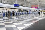 Workers outnumbered travelers in this photo taken at O'Hare International Airport in Chicago on April 16, 2020