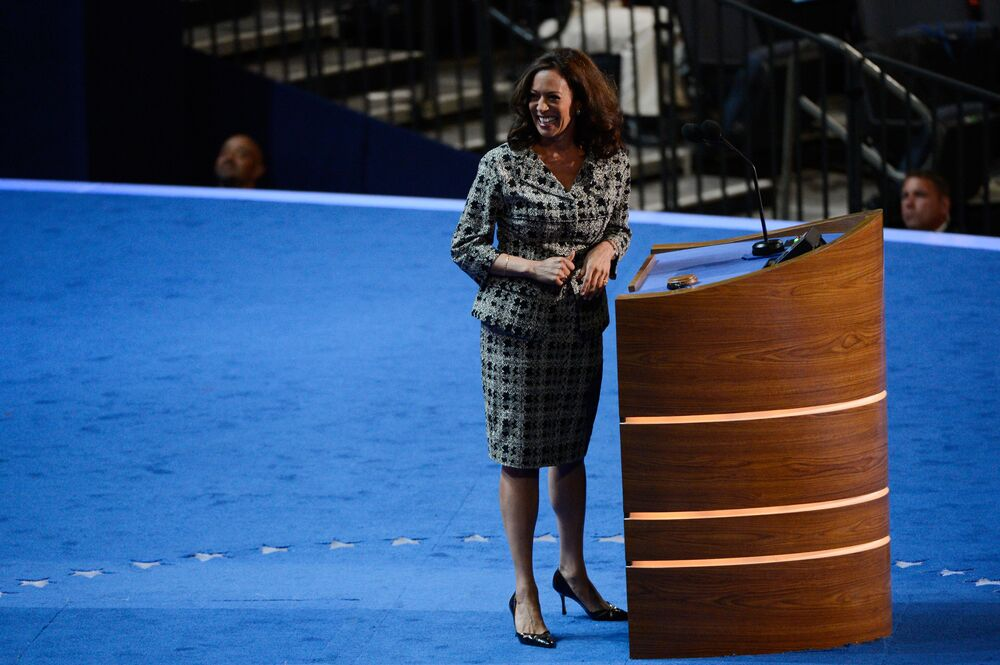 During day one of the Democratic National Convention at Time Warner Cable Arena on 4 September 2012 in Charlotte, North Carolina, then California Attorney General Kamala Harris is seen standing at the podium in a houndstooth-patterned skirt suit , teamed up with a pair of classic patent pumps.