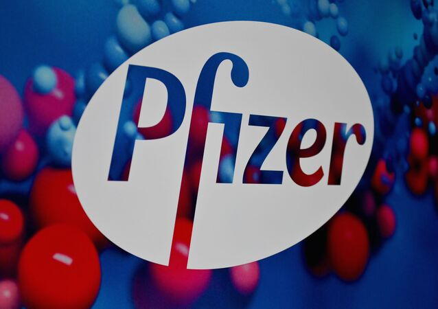 The Pfizer logo is seen at the Pfizer Inc. headquarters on 9 December 2020 in New York City, NY, US.