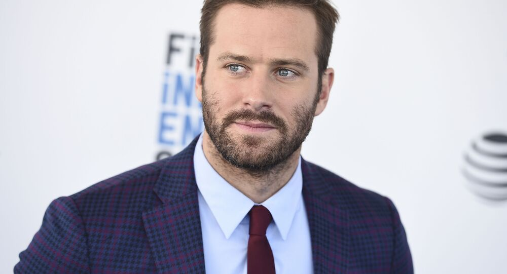 Armie Hammer arrives at the 34th Film Independent Spirit Awards on Saturday, Feb. 23, 2019, in Santa Monica, Calif.