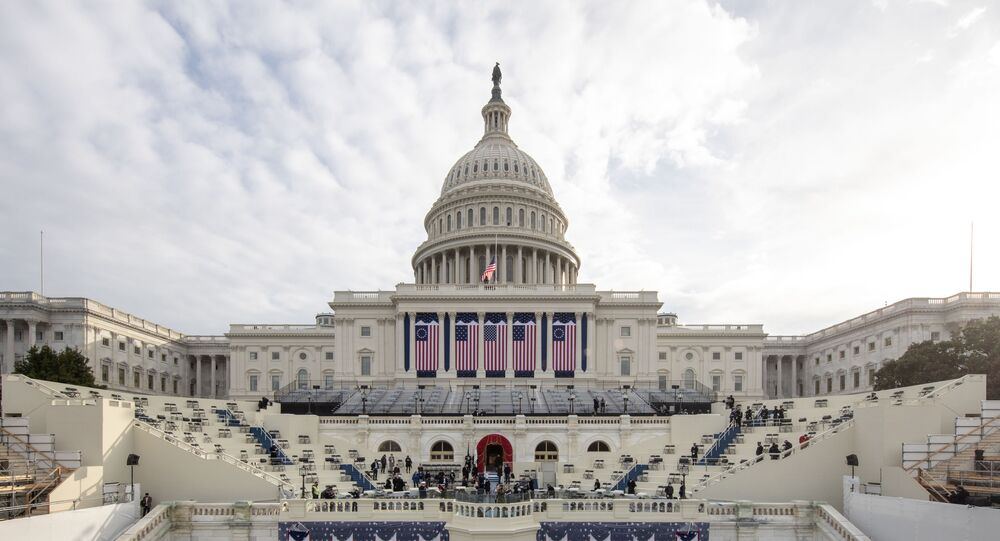 Preparations are made prior to a dress rehearsal ahead of the 59th Inaugural Ceremonies on the West Front at the U.S. Capitol on January 18, 2021 in Washington, DC