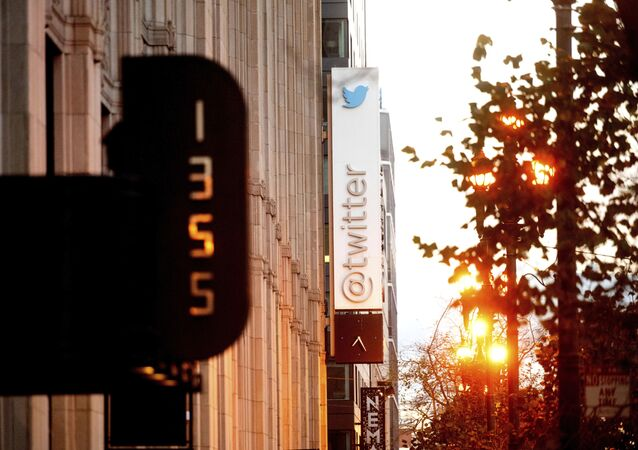 A sign hangs at Twitter headquarters on Monday, Jan. 11, 2021, in San Francisco.