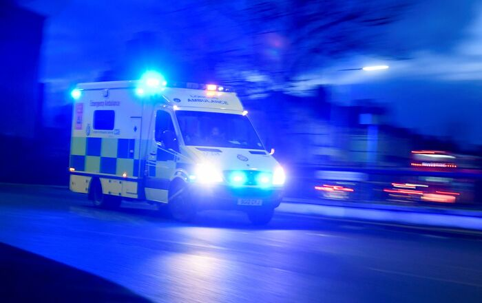 An ambulance drives following the coronavirus disease (COVID-19) outbreak in Romford, Britain, January 2, 2021