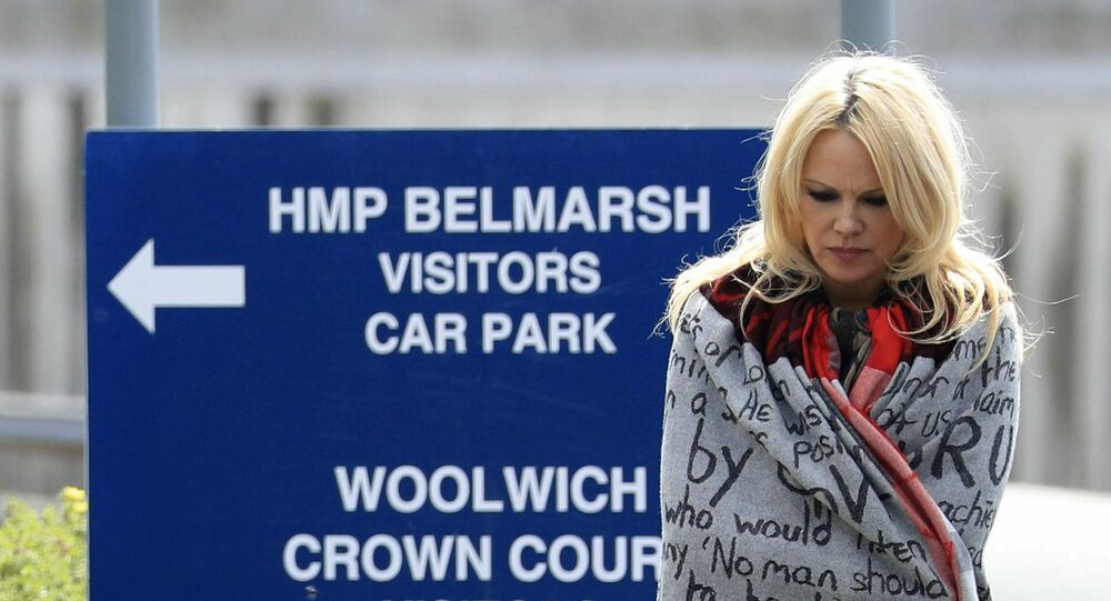 US actress Pamela Anderson leaves Belmarsh Prison in south-east London, after visiting WikiLeaks founder Julian Assange, Tuesday May 7, 2019.