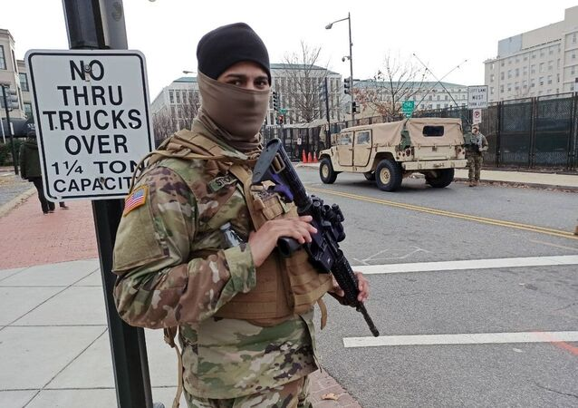 A National Guard soldier on duty on a street near the Capitol Building in Washington, DC.