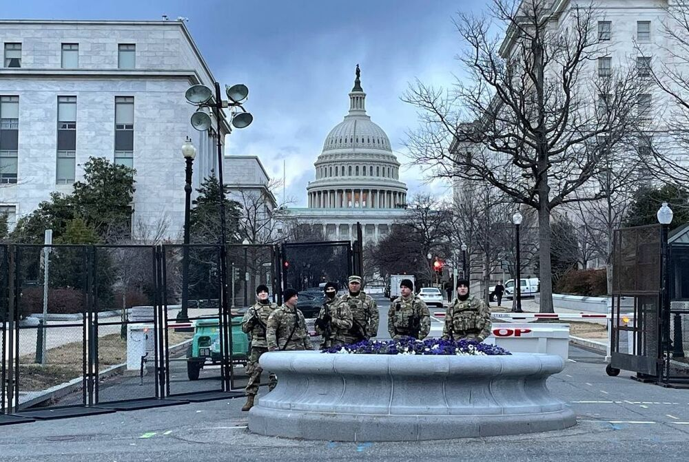 National Guard troops stand guard near the US Capitol Building ahead of the inauguration of President-elect Joe Biden in Washington, DC, the United States.