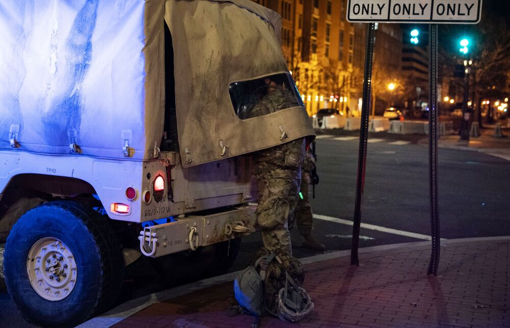 A member of the National Guard on a street near the Capitol Building in Washington, DC.