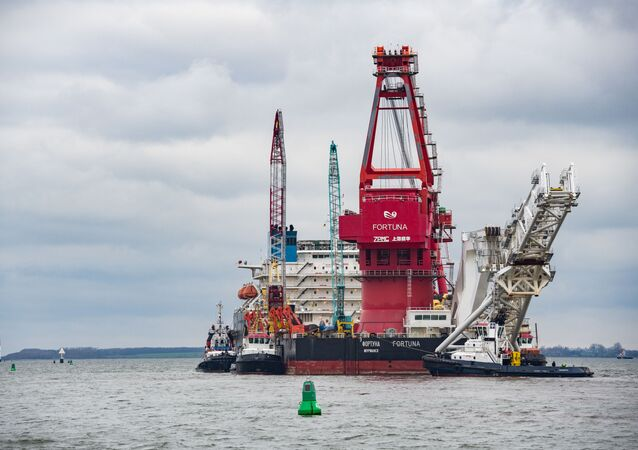 Pipe-laying vessel Fortuna in the port of the German city of Wismar. Gazprom plans to resume the construction of Nord Stream 2 in Danish waters