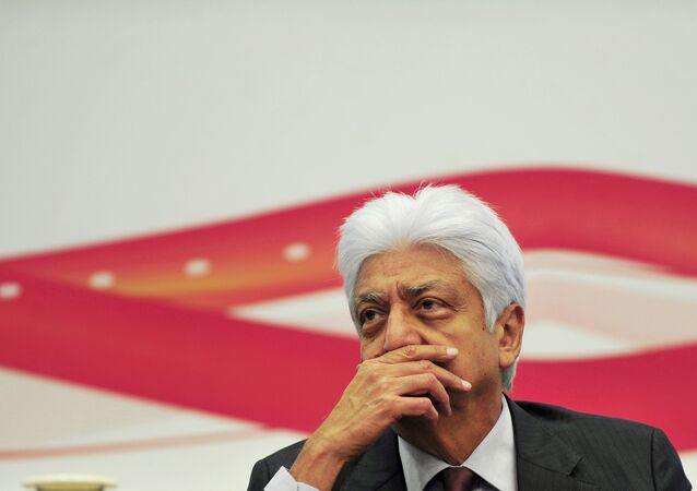 Chairman of Wipro Limited, Azim Premji, during a press conference to announce the company's financial results for the fourth quarter of the year 2011-12 at Wipro's facility in Bangalore on 25 April 2012.